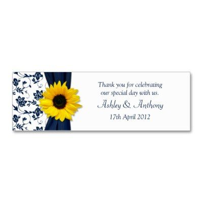 Sunflower Navy Damask Floral Wedding Favor Tags Business Card You can personalize the text on this elegant sunflower navy or marine blue and white damask floral wedding or special occasion favor tag. A nice way to say thank you to your guests...