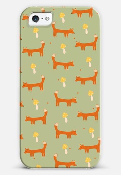 Little foxes pattern (with mushrooms) iPhone 6 case by Strawberringo | Casetify