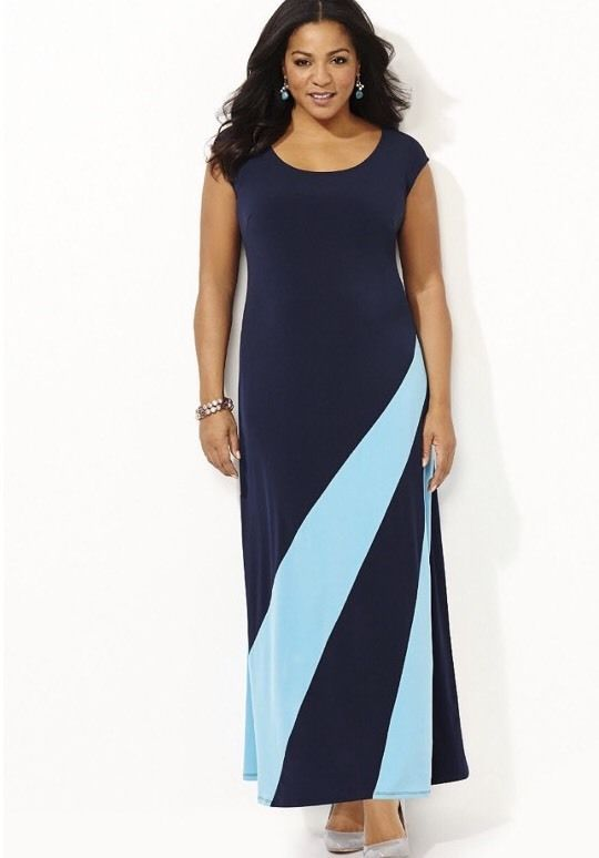 Catherines All Around Maxi Dress Navy Blue Aqua Plus Size 2x