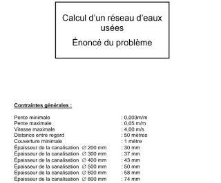 Exercice de calcul de d bit dimensionnement et for Assainissement cours pdf
