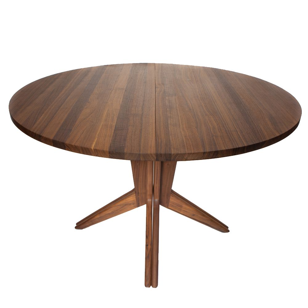 Contemporary Wood Round Extendable Dining Table