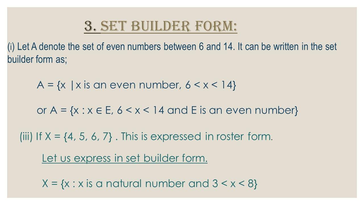 Set Builder Form Of Sets In Math Representation Of A Set Set