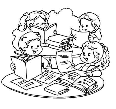 Dibujos Para Dibujar De Ninos Estudiando