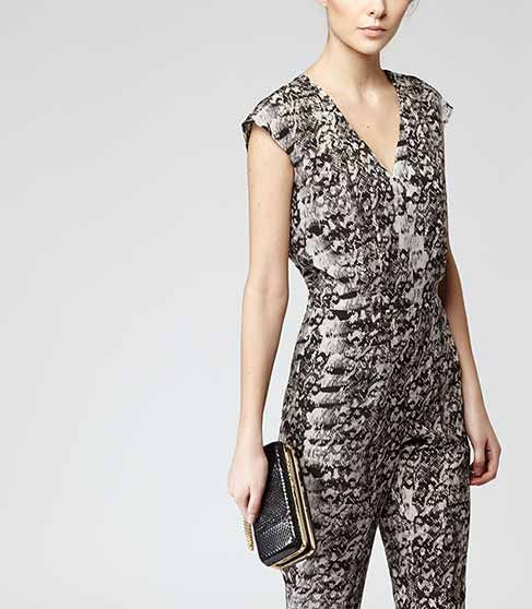 1e5585ffd39 Monica Print Black white Snake Print Jumpsuit - REISS