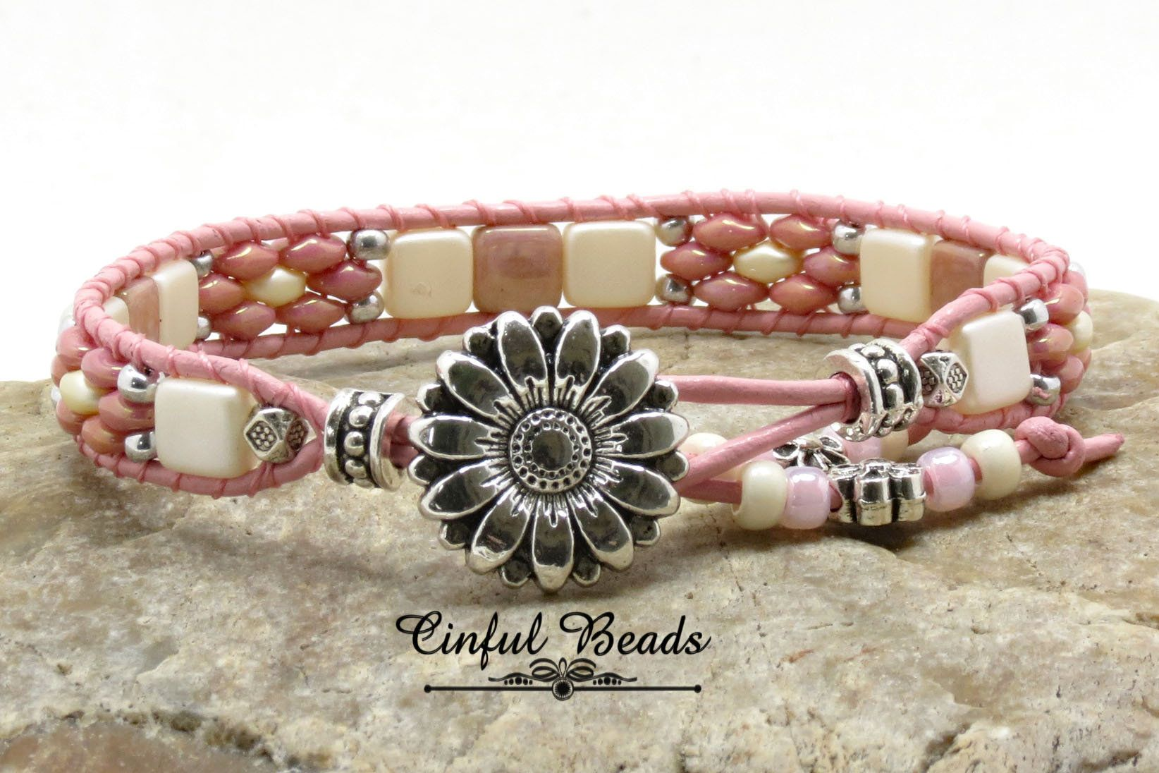 Photo of Pastel Beaded Leather Bracelet – Pink and Cream Leather Wrap Bracelet With Sunflower Button – Boho Leather Jewelry (SW92)