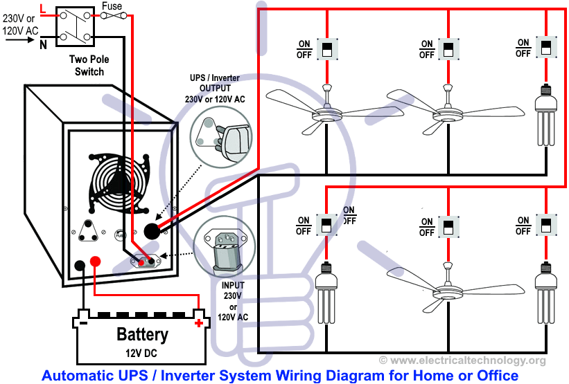 Automatic Ups Inverter Wiring Connection Diagram To The Home Ups System Electrical Circuit Diagram Home Electrical Wiring
