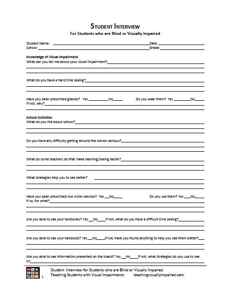 Student Interview Form  Education Tools