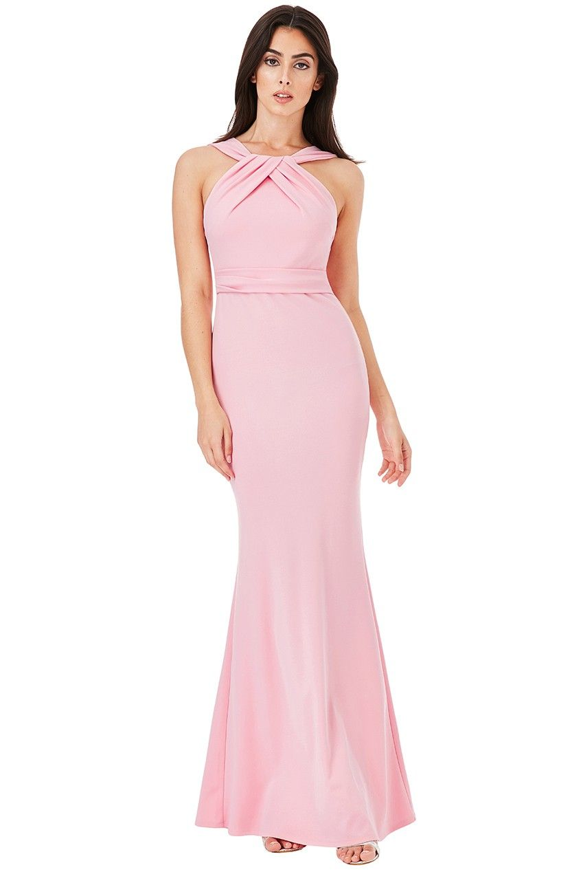 Pleated Neckline Maxi Dress - Pink - Front - DR1195 | Bridesmaids ...