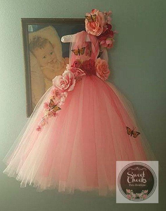dee8485c79911 Robe de fée rose fille de fleur robe rose robe costume de