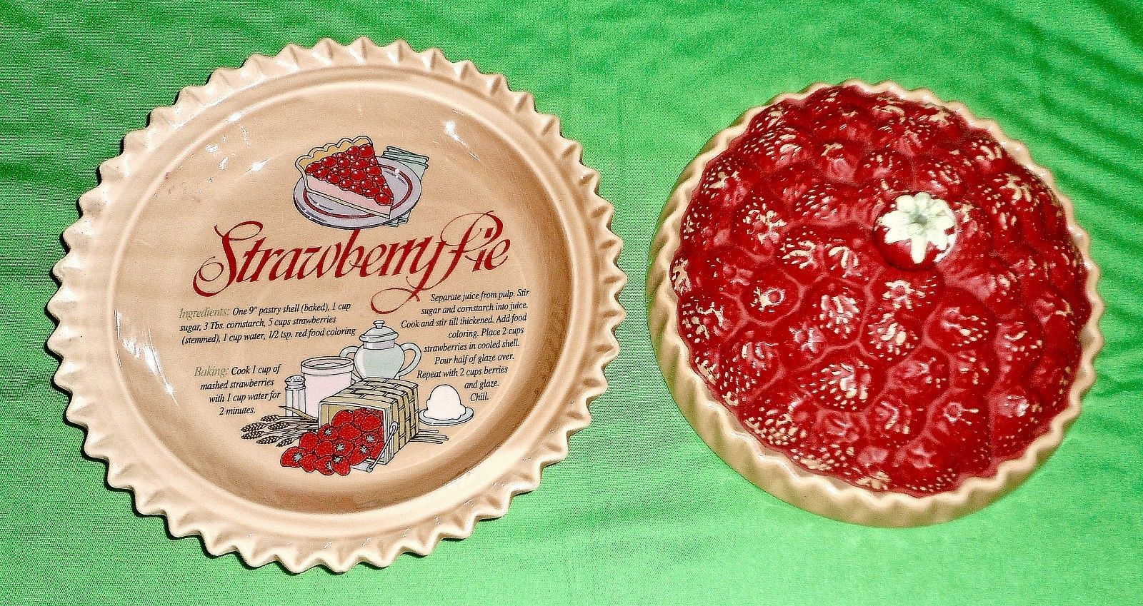 9  Strawberry Pie Plate with Decorative Lid | eBay & 9