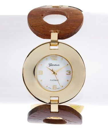 Another great find on #zulily! Dark Wood & Gold Round Link Bracelet Watch #zulilyfinds