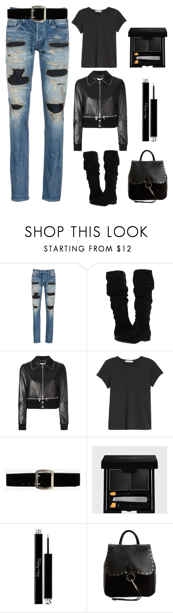 """""""Black never gets old"""" by im-karla-with-a-k ❤ liked on Polyvore featuring Denham, Steve Madden, Givenchy, rag & bone/JEAN, Express, Christian Dior and Rebecca Minkoff"""