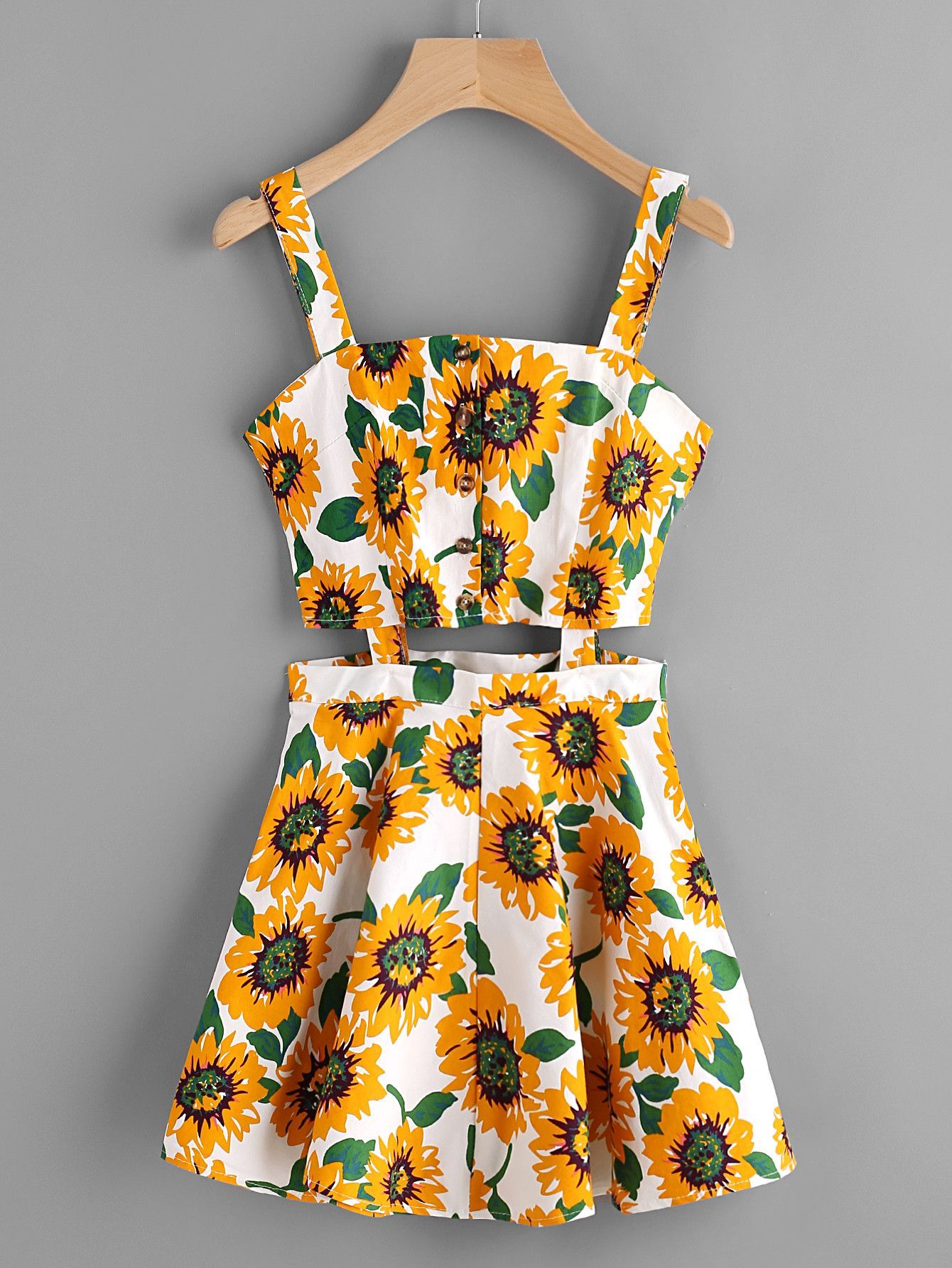 77819974d671 White Sunflower Print Single Breasted Cut Out Dress in 2019 ...