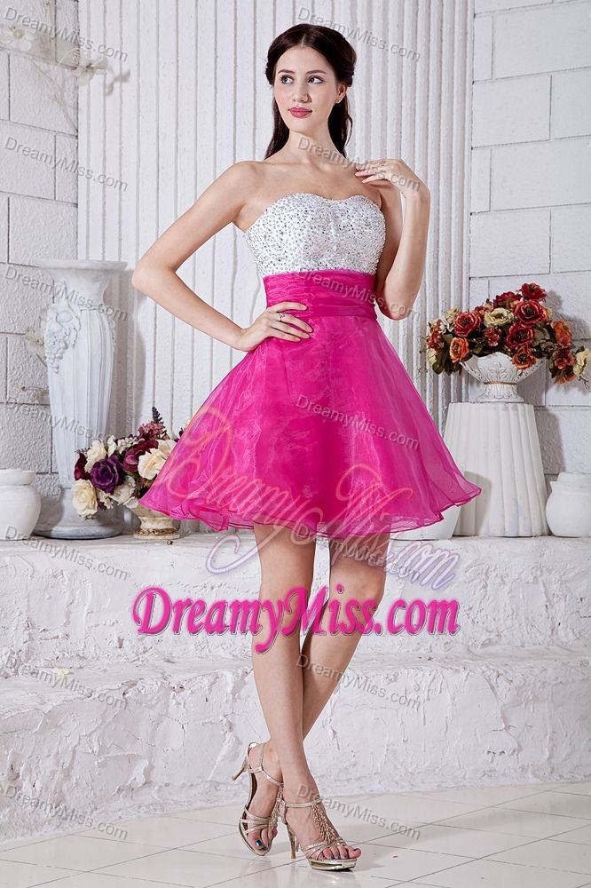 A-line Sweetheart Short Prom Court Dresses with Beads in Hot Pink ...