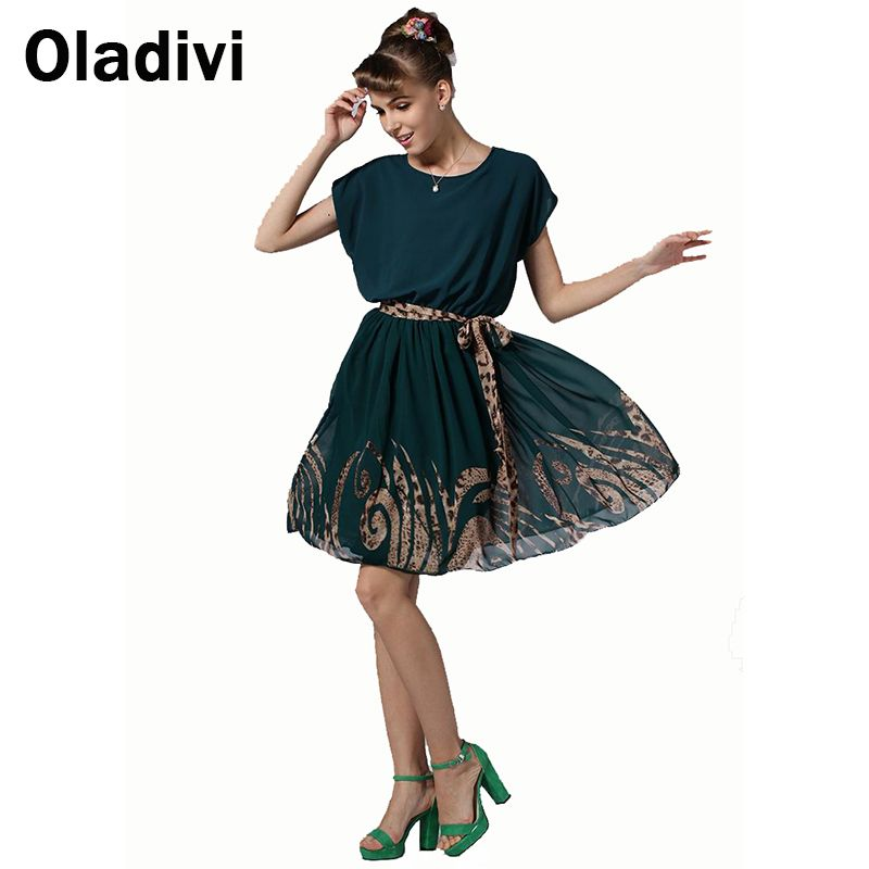 Find More Dresses Information about S XL 2015 Summer Style Women Fashion Slim Print Chiffon Short Sleeve O neck Pleated Dress Female Beach Wear Cute Clothing QZ021,High Quality Dresses from Oladivi Group - Minabell Fashion Store on Aliexpress.com