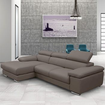 Nicoletti Lipari Taupe Leather Sofa Left Facing Costco Uk