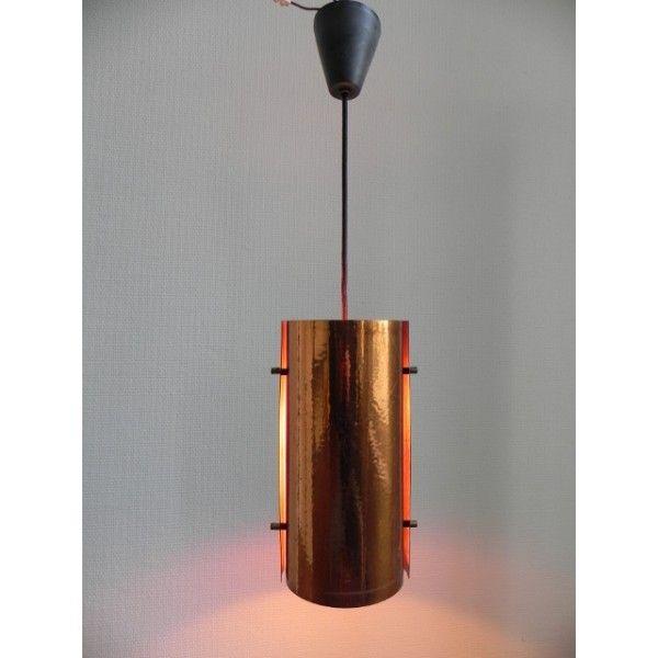 Koperen vintage hanglamp, Philips