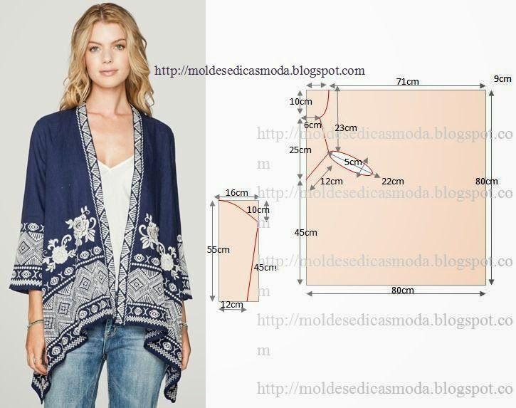 Over-sized/kimono-style jacket pattern   Стиль   Pinterest   Nähen ...