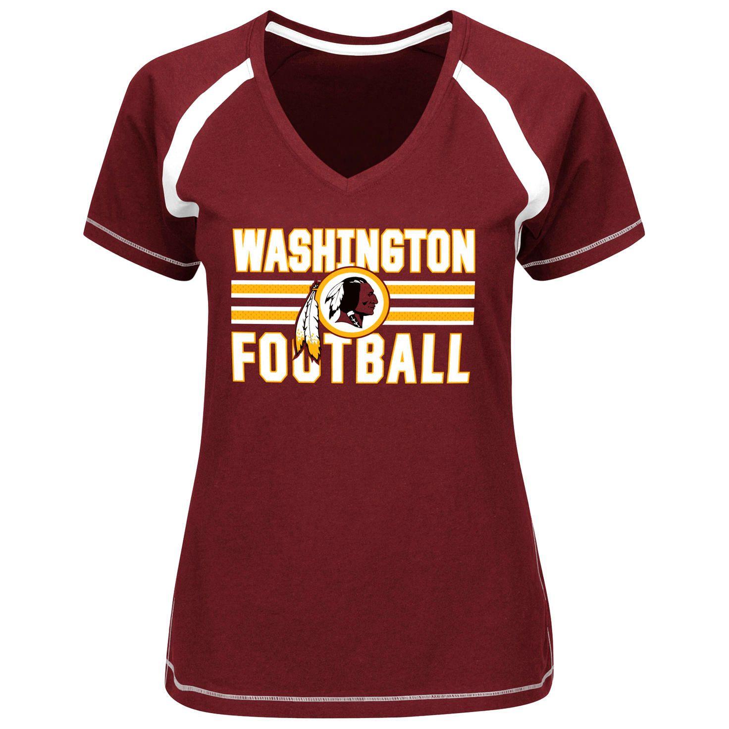 Washington Redskins Majestic Womens Plus Sizes Game Day V-Neck T-Shirt -  Burgundy f5376a658