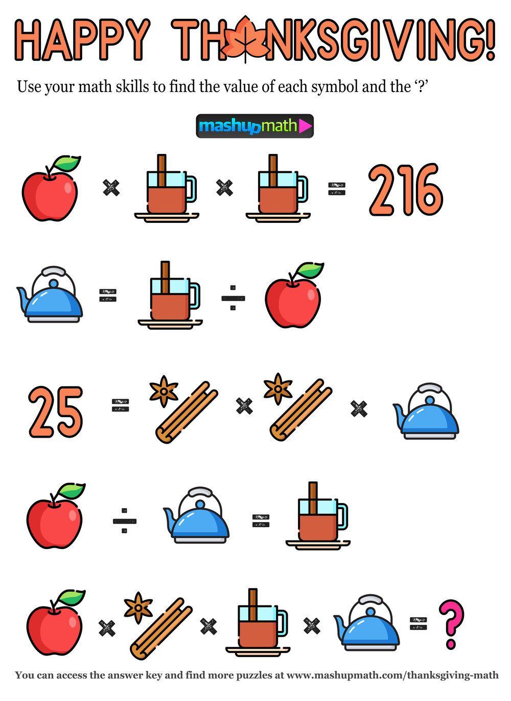 12 Thanksgiving Math Activities For Grades 1 8 Mashup Math Thanksgiving Math Thanksgiving Math Activities Math [ 1371 x 1000 Pixel ]