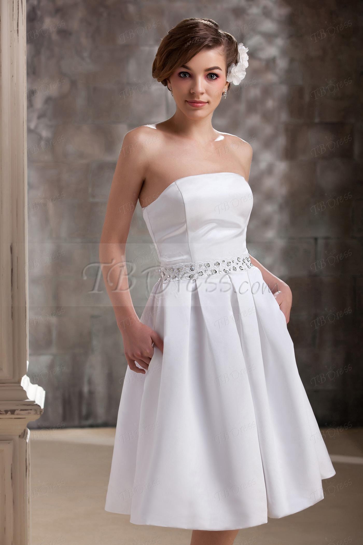 Elegant aline strapless pockets tealength dariaus wedding dress