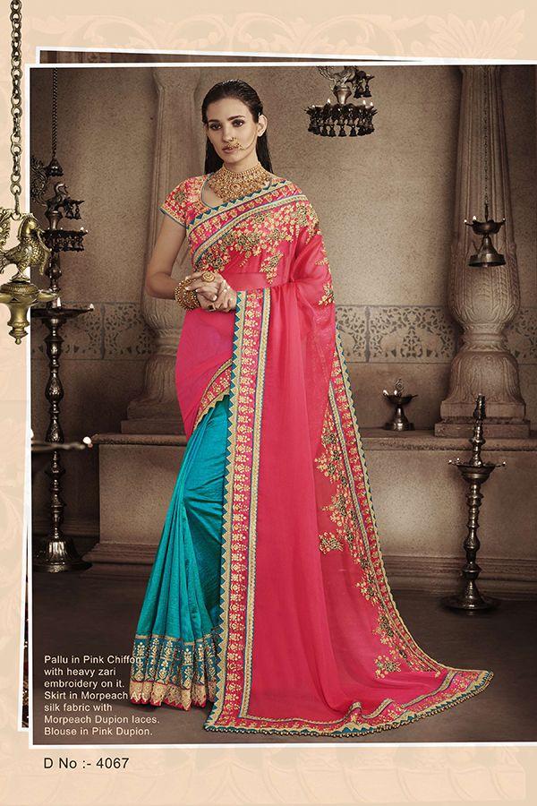 3379b8094 Peacock Blue   Pink Chiffon   Art Silk Fabric Saree