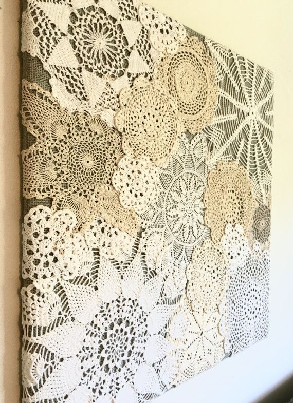 This one of a kind doily collage will add vintage charm to your home! Made with plywood, fabric, and vintage doilies. Measures 24x24. This piece is only representative of your made to order product. It is not the product that will be shipped. Background fabric can be customized. Final product will be photographed and sent to customer before being shipped out. #dollies