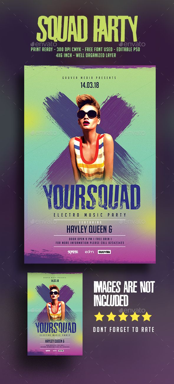 Squad Party Music Flyer Music flyer, Party poster and Flyer template