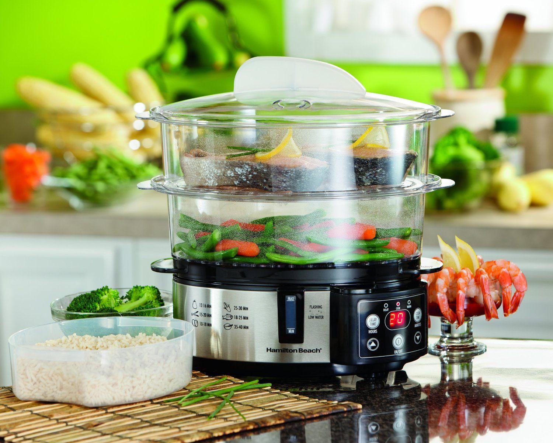 Le cuiseur vapeur électrique Hamilton Beach vous permet de cuire à la vapeur des légumes comme plat d'accompagnement sur un niveau pendant que le poisson cuit à l'autre niveau. Gr à la vapeur… | Recettes vapeur, nourriture, cuisine