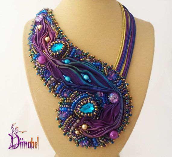 Bead Embroidered Shibori Silk Necklace By Diinabel On Etsy