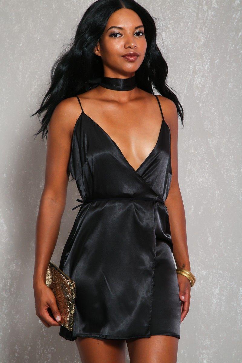 Sexy black satin sleeveless bodycon party dress in codeblack