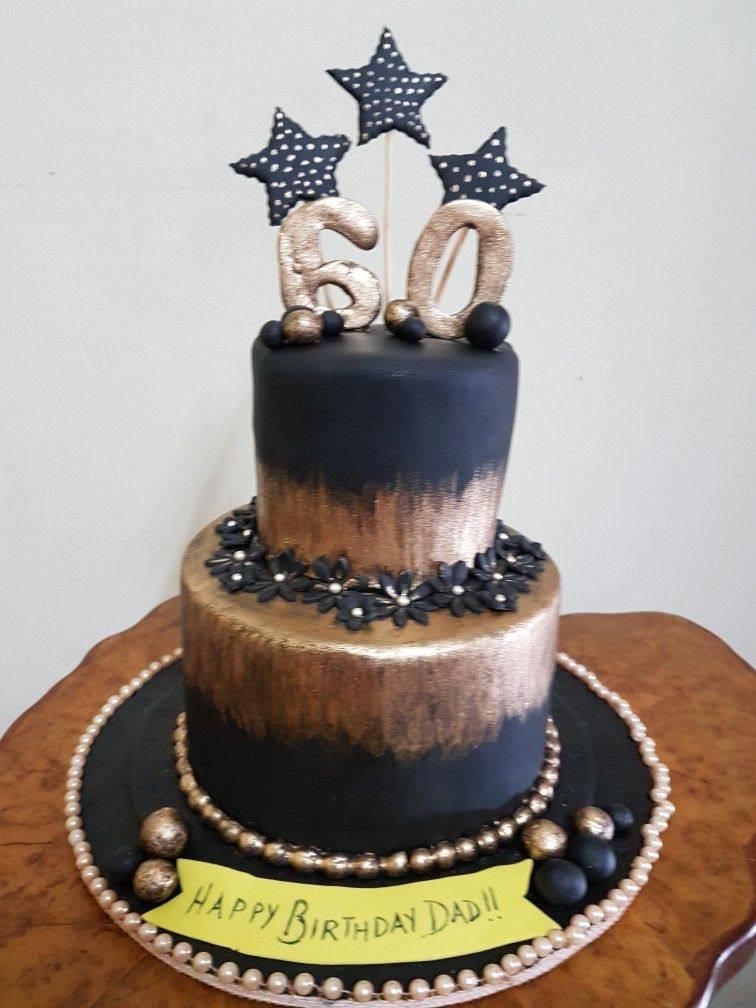 Salted caramel two tier cake for a 60th birthday party for a fear