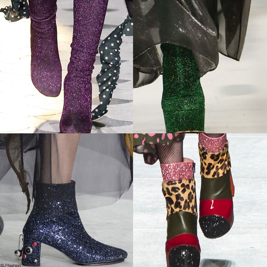 """The """"it"""" Trendy Boots style for FW 2016: Glittery Glitter dust Boots. Vetements, Maison Margiela, Toga, and House of Holland Fall Winter 2016."""