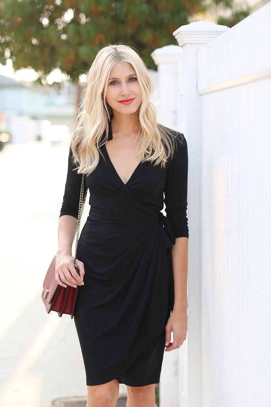 Black Wrap Dress Long Sleeve Wrap Dress Dresses Wrap Dress Outfit [ 1350 x 900 Pixel ]