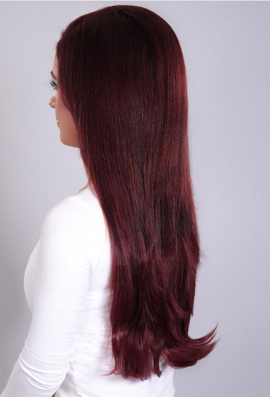 One Piece Ombre Clip In Human Hair Extensions Blackburgundy Clip