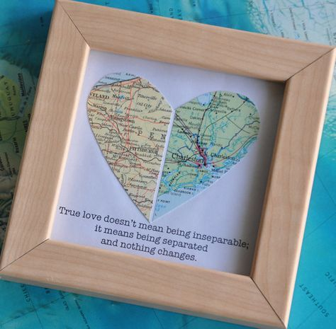 Long Distance Relationship Gift for Boyfriend Framed Map Heart Gift with Custom Text