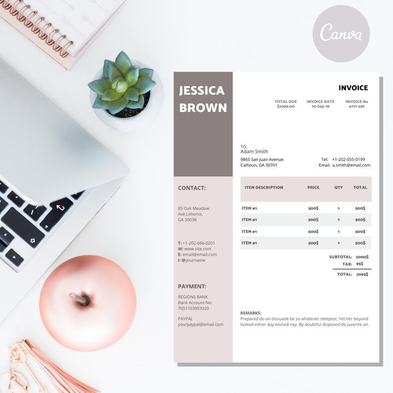 Canva Invoice Template Invoice Design Receipt Photography Etsy Invoice Design Photography Invoice Invoice Template