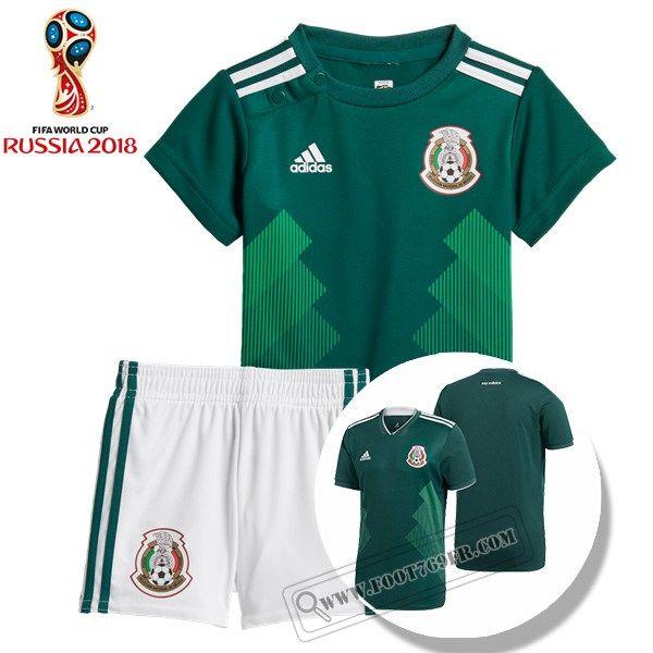 079a8bafc4fa Boutique Nouveau Ensemble Maillot De Mexique Enfant Domicile Vert Thailande  Coupe Du Monde 2018 Avec Flocage