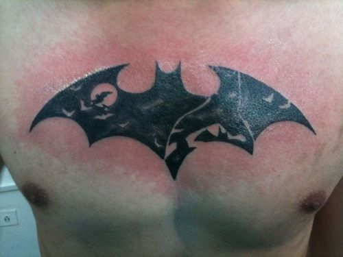 This Is My First Tattoo Is A Batman Chest Logo With The Batman Silhouette From Black And White Vol 2 The Artist Was Nefi Escamilla At Plexus T With Images Batman Tattoo