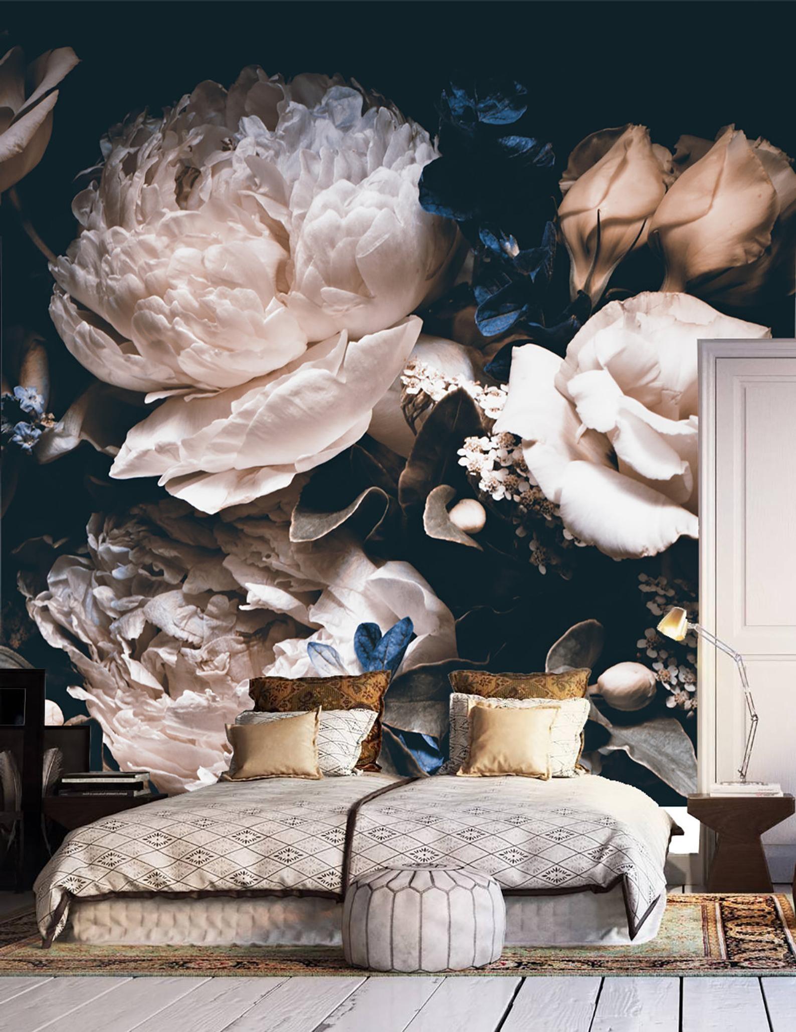 Dark Vintage Floral Wallpaper Wedding Clipart Removable Wallpaper