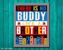 There is no Buddy like a Brother. Superhero Brother Wall Art. Superhero Boys Decor. Superhero Sign. Superhero Decor. Boy's Wall Art. Brother