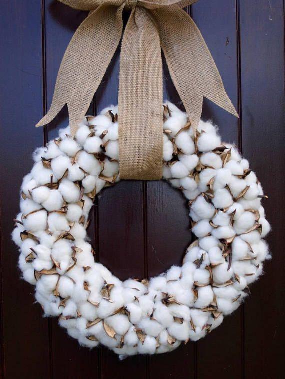 Cotton Boll Starburst Wreath Farmhouse Style Decor Country