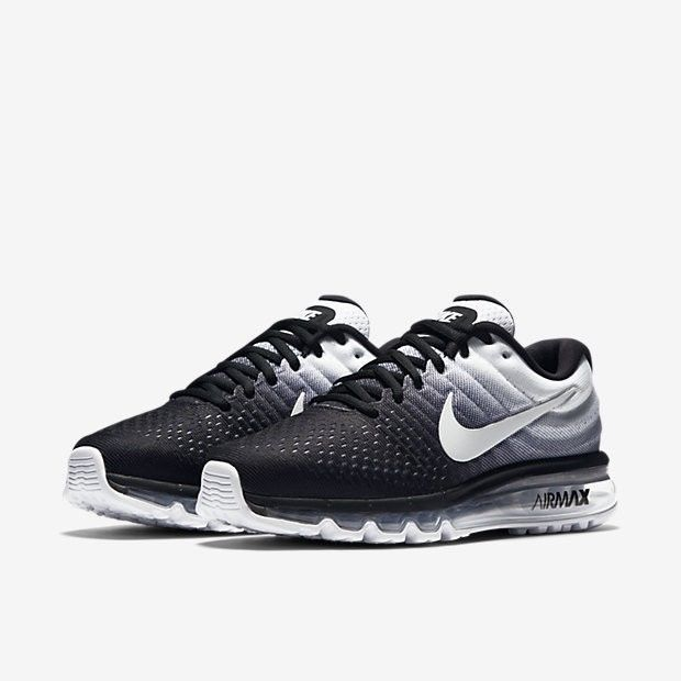 nike mens air max 2017 running shoes 849559 010 black/white size 9