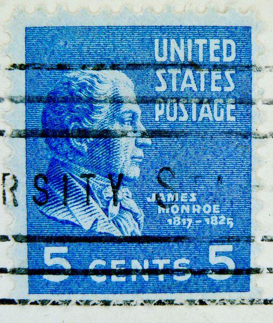 President James Monroe Stamp USA 5 Cent 1817