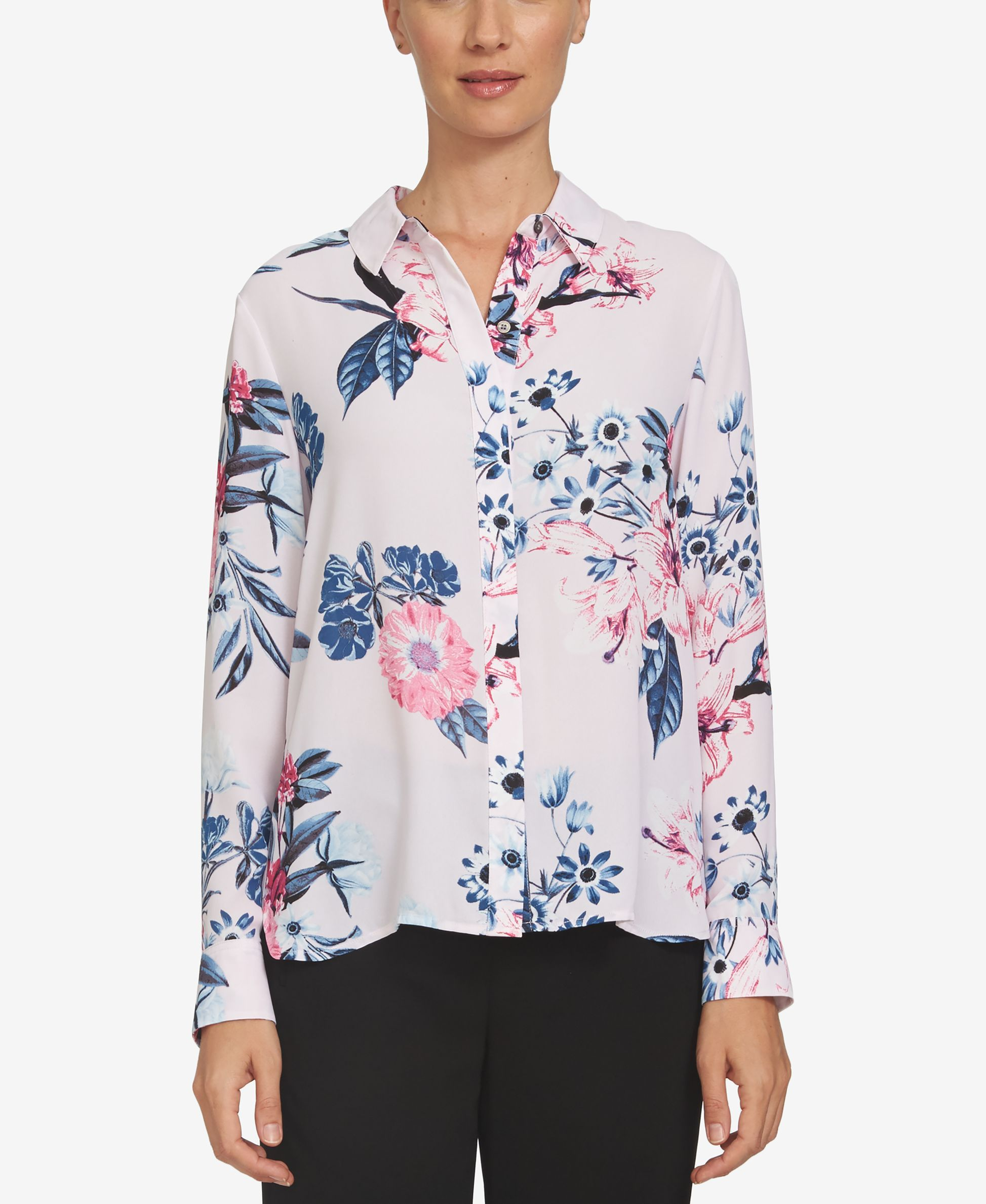 5b782237 CeCe High-Low Floral-Print Blouse | Products | Blouse, Floral prints ...