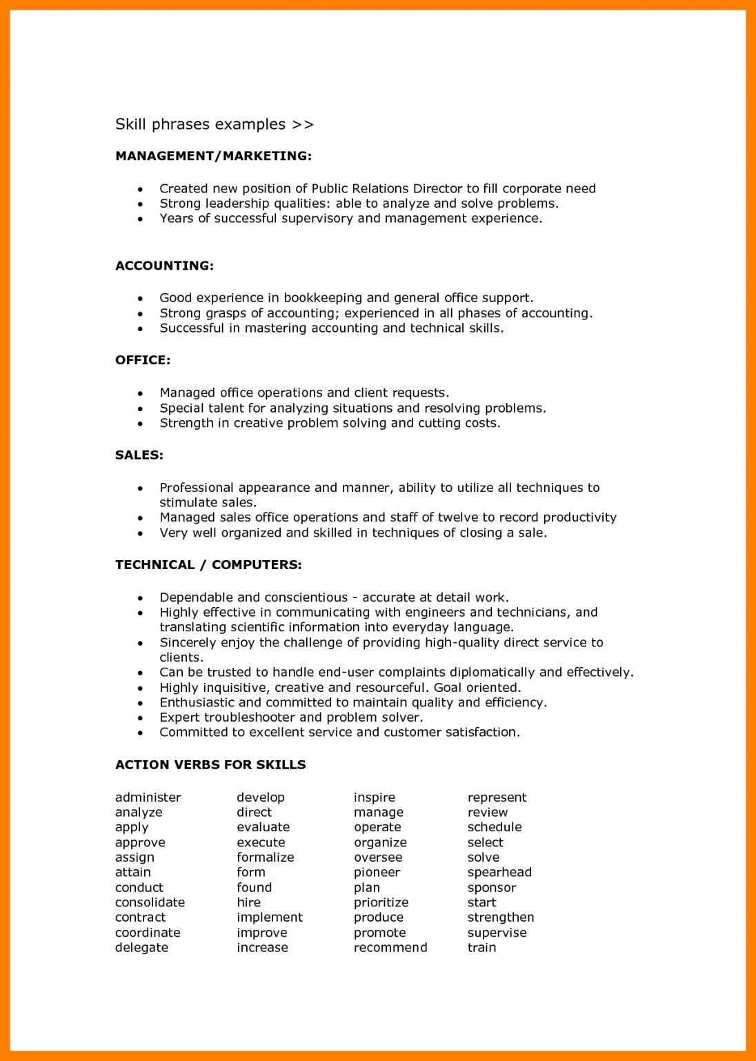 99 Key Skills For A Resume Best List Of Examples For All Jobs