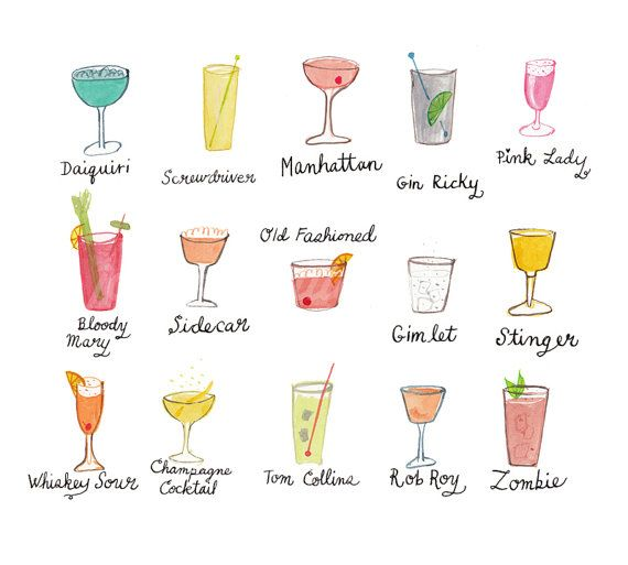 Fancy cocktails with names digital print 5x7 by for Names of mix drinks