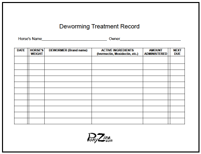 horse record keeping forms pdf