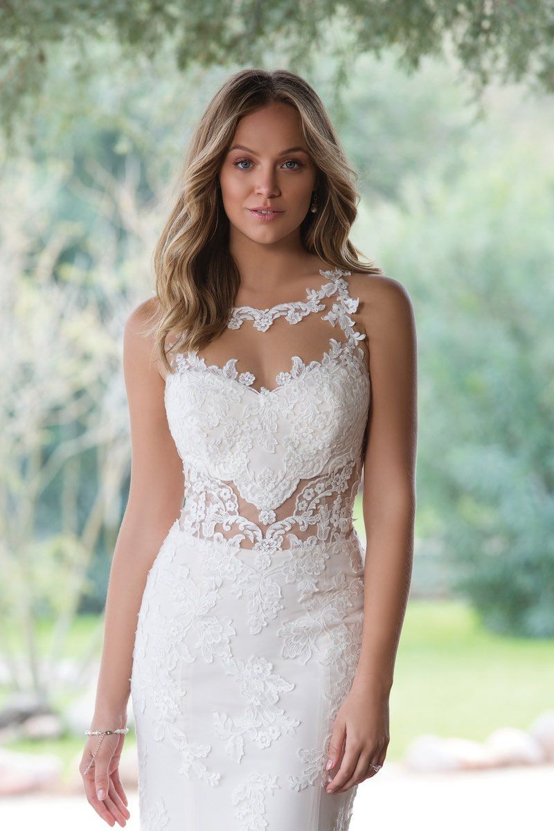 Look at this stunner with a gorgeous illusion neckline and middle ...