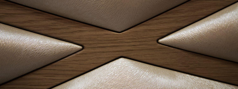 Detalle de la textura del tapizado del dormitorio de monrabal